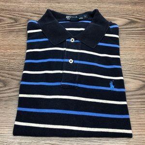 Polo Ralph Lauren Navy w/ Blue Stripe Polo Shirt L
